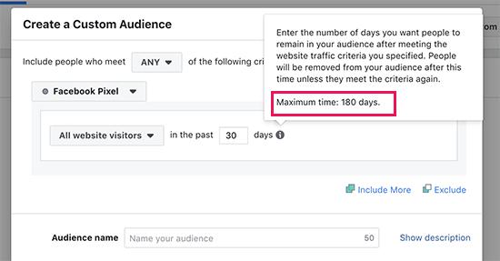 Facebook custom audience retargeting