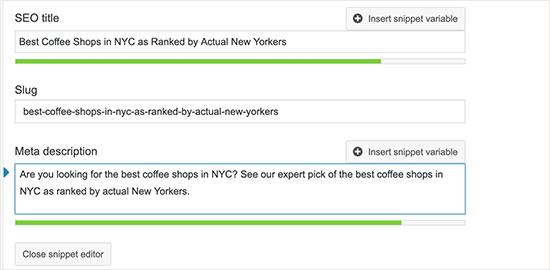 Adding meta description for your blog posts in Yoast SEO