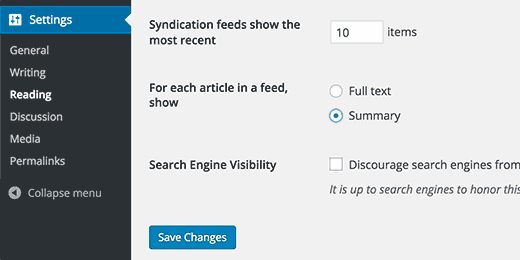 Summary in RSS feeds
