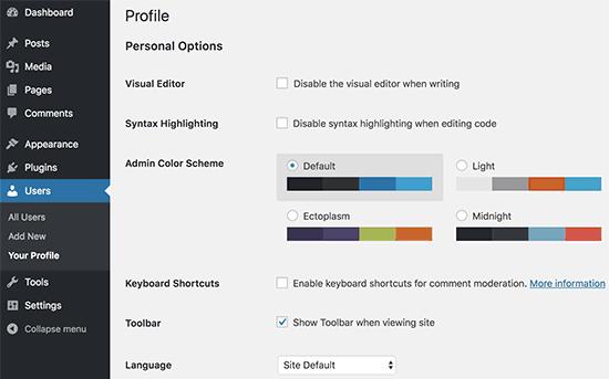 Update WordPress profile