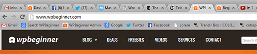Favicons displayed in browser tabs
