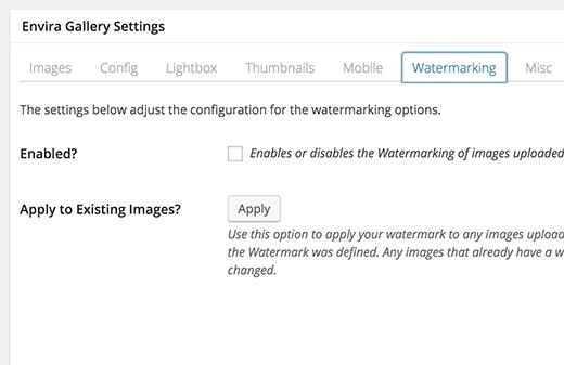 Watermarking addon in Envira Gallery plugin for WordPress