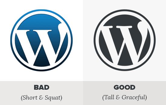 WordPress faux vs real logo