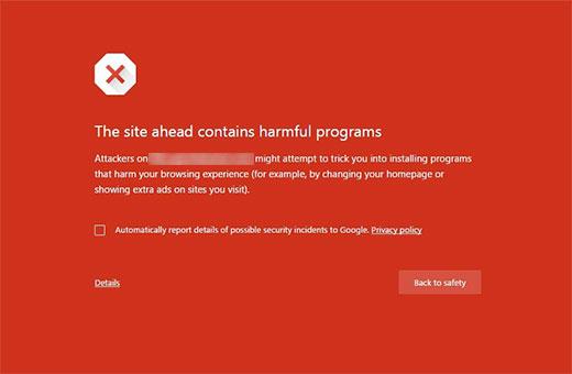 Harmful programs error in Google Chrome