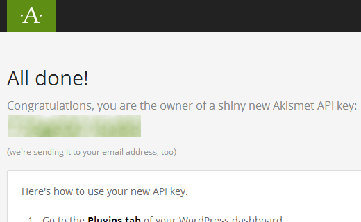 Copy your Akismet API Key