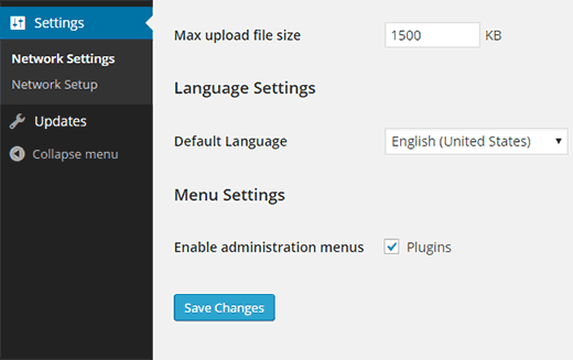 Enabling plugins menu for individual sites
