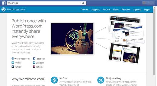 Landing page for WordPress.com's app