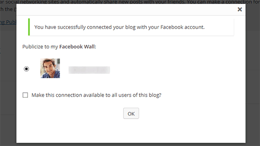 Connected to Facebook