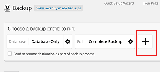 Add new backup profile button