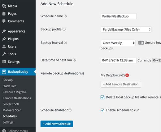 Adding a new schedule