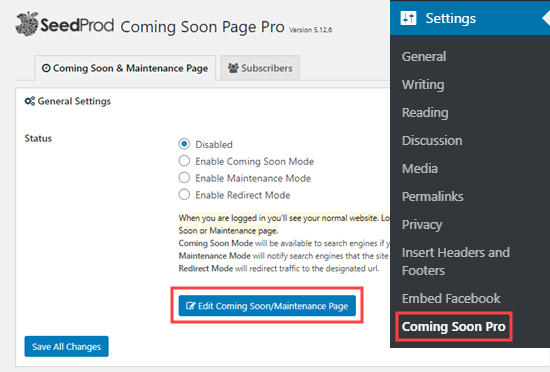 Editing the coming soon/maintenance page in SeedProd