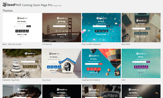Choosing a template for your coming soon page in SeedProd