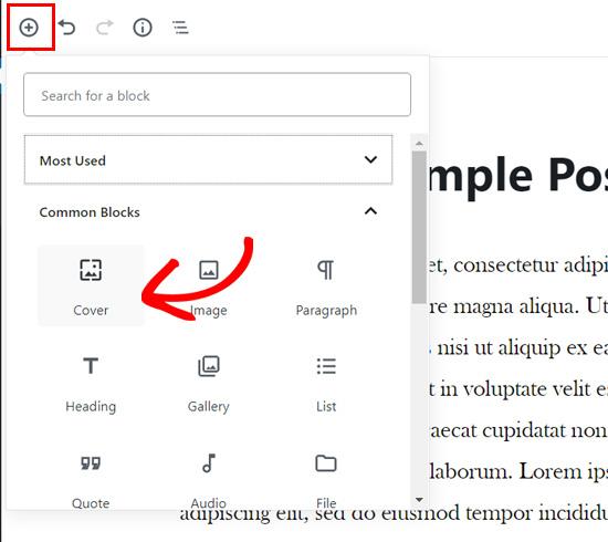 Add cover block in WordPress block editor