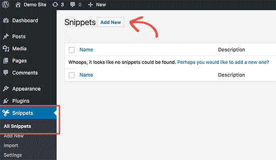 Adding a new snippet in Code Snippets plugin