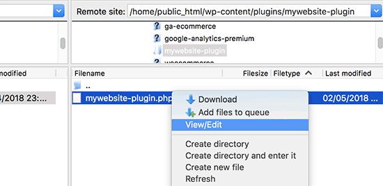 Edit site-specific WordPress plugin using FTP