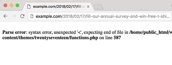 PHP error message