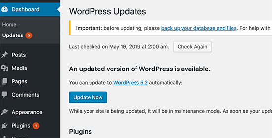 Ignoring WordPress updates
