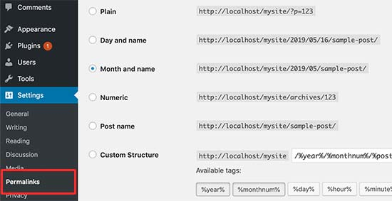 Choosing the right permalinks structure