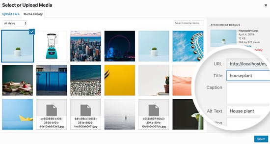 Changing image title in WordPress