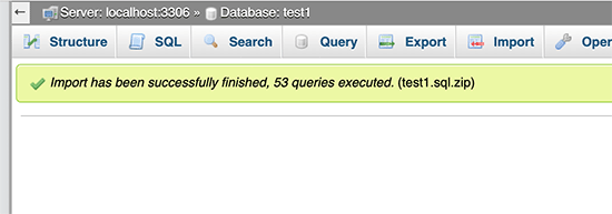 Database imported successfully