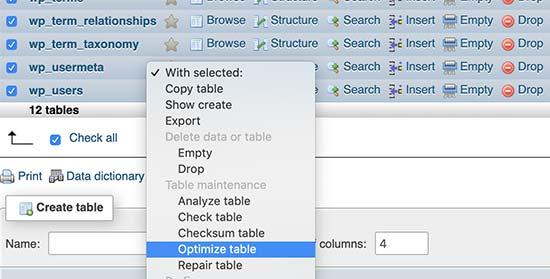 Optimize WordPress database tables