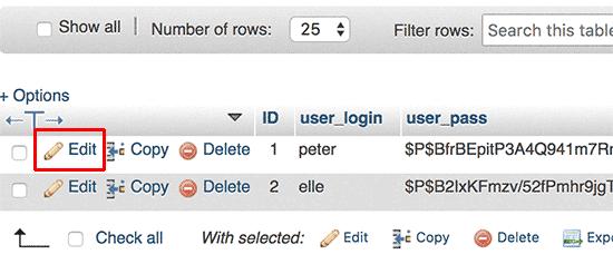 Change user password