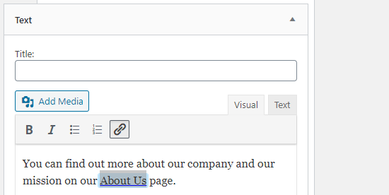 Adding a link in a widget