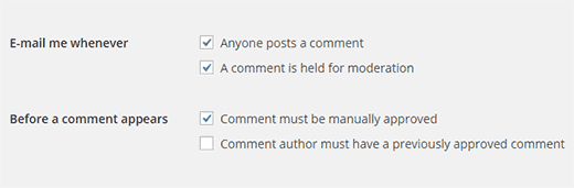 Comment email and manual approval settings