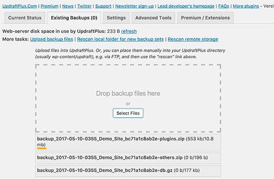 Uploading backup files