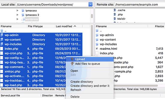 Upload WordPress files