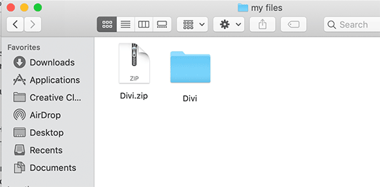 Extracted theme files