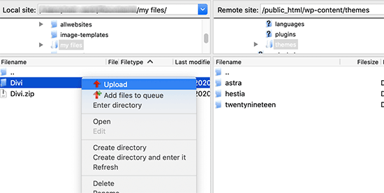 Upload theme files via FTP
