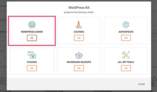 SiteGround WordPress login button