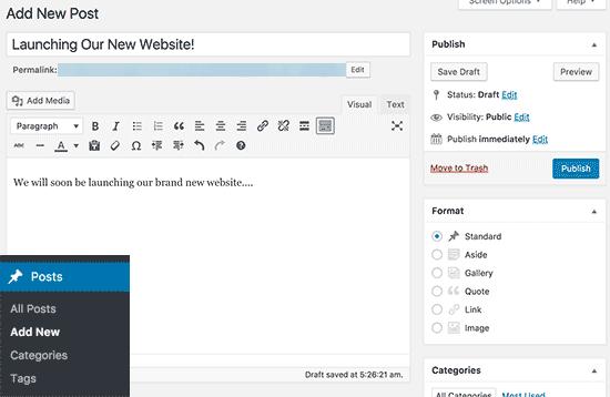اضافه کردن پست جدید در وردپرس