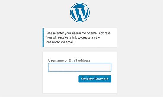 WordPress password recovery screen