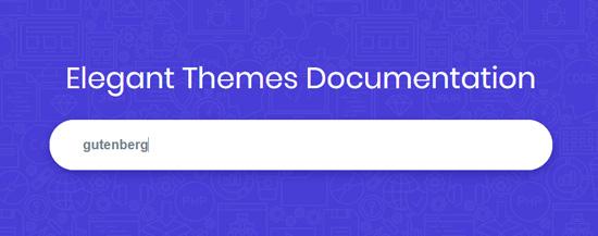 Search 'Gutenberg' keyword in theme site's documentation