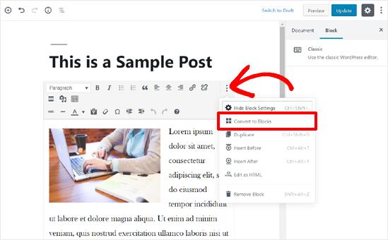 Convert Old Post Content to Blocks in WordPress Block Editor