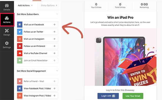 Add actions to your contest