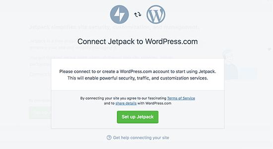 Connect JetPack to WordPress.com