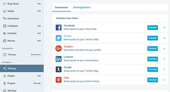 Enabling social sharing in WordPress.com