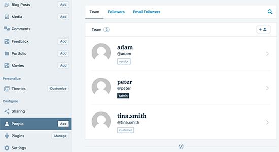 managing users via WordPress app