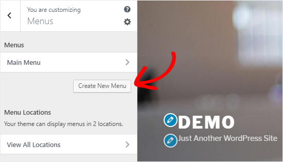 Menus Panel in Theme Customizer
