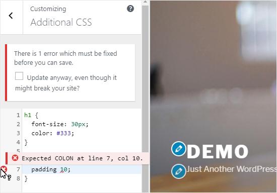Add Custom CSS code to Additional CSS pane;