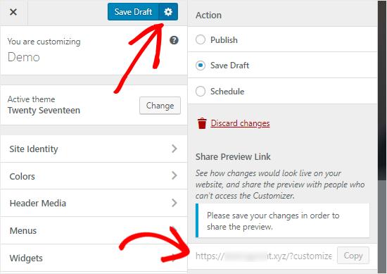WordPress Customizer Save Draft option