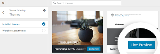 Preview Installed themes on Theme Customizer