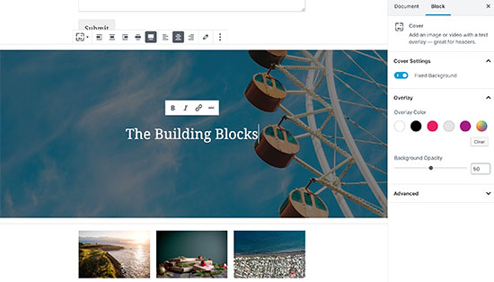 The cover image block in Gutenberg editor