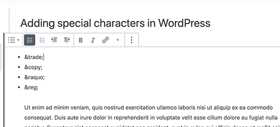 Adding HTML Entity in Gutenberg