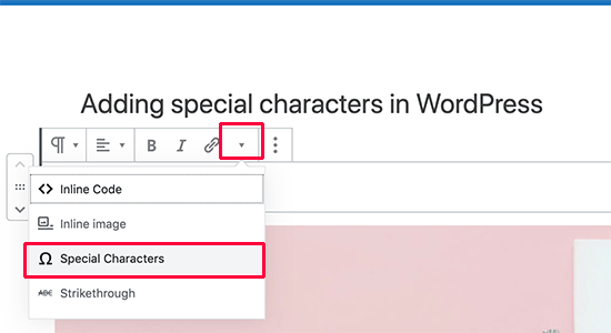 Open special characters menu in block editor