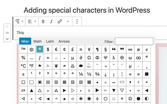 Add special characters in Gutenberg WordPress block editor