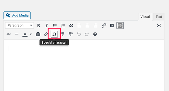 Special characters button in the old editor